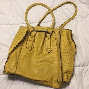Yellow faux ostrich tote